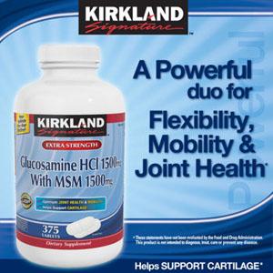 KIRLAND Glucosamine HCL 1500mg With MSM 1500mg- Thuốc Bổ Xương Khớp 375 Viên